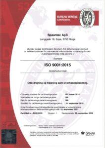 Spaantec - iso 9001 certifikat 2015